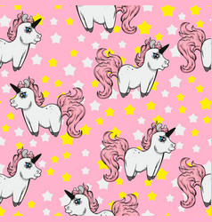 seamless pattern with unicorns and stars vector image vector image