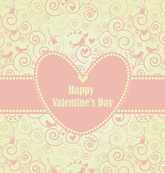 Sweet Valentines Day Card in Pink vector image vector image