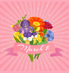 8 march women s day floral card with flowers vector