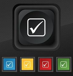 A check mark icon symbol Set of five colorful vector image