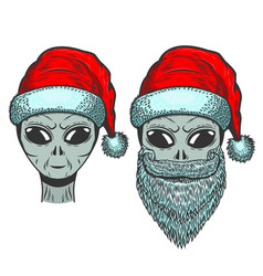 Alien in santa claus hat on white background vector