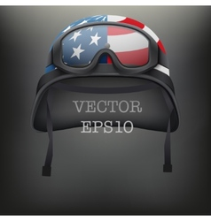 Background of American helmet and goggles vector image