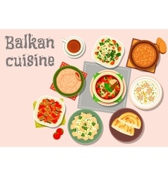Balkan cuisine savory dishes icon for menu design vector