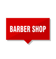 Barber shop red tag vector