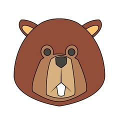 beaver cartoon icon vector image