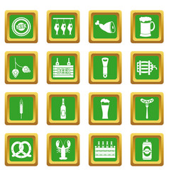 Beer icons set green vector