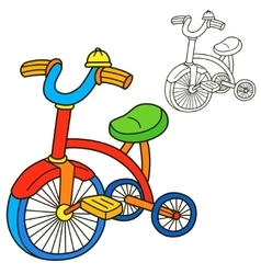Bicycle Coloring book page Cartoon vector