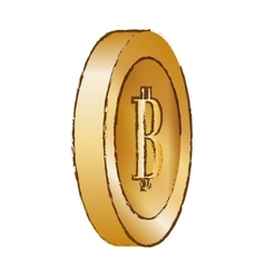 Bitcoin golden image digital symbol vector