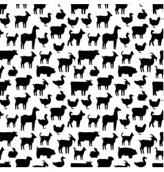 Black farm animals silhouettes pattern design vector