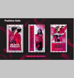 Black friday man fashion sale instagram stories vector