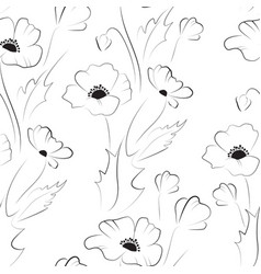 black poppy seamless pattern vector image