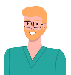 Blond smiling man medical worker in surgical green vector