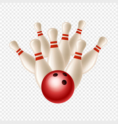 Bowling strike skittles and ball isolated vector