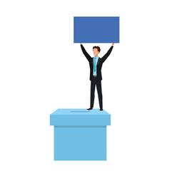 Business man with ballot box carton isolated icon vector
