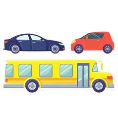 cars isolated on white bus ans sedan microcar vector image