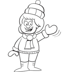 Cartoon girl in Winter clothing waving vector image