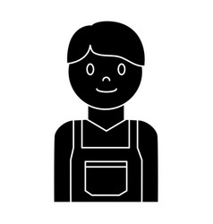 cartoon plumber man icon vector image