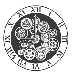 cartoon silhouette black clock mechanism vector image