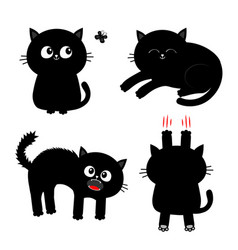 Cat set nail claw scratch sitting screaming vector