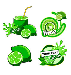 citrus lime fresh label vector image