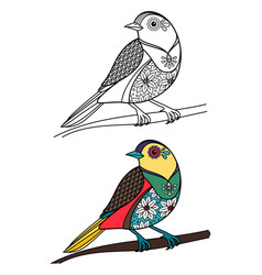 coloring bird with doodle sample vector image