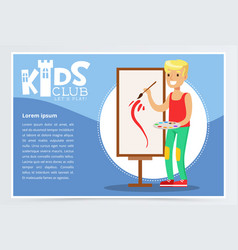 Creative blue poster for kids club with school boy vector