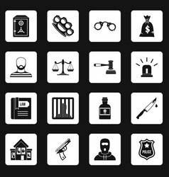 Crime and punishment icons set squares vector
