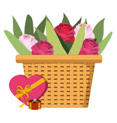 cute basket cartoon vector image