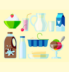 Dairy milk products organic drink bottle healthy vector