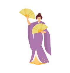 dancing japanese geisha vector image