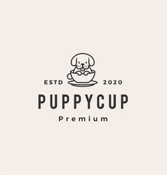 dog cup hipster vintage logo icon vector image