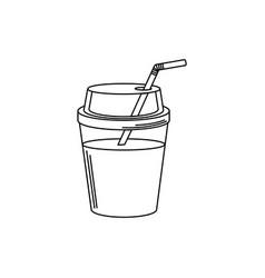 drinks cold refresh plastic cup with straw line vector image