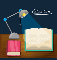education desk to study with lamp and books vector image
