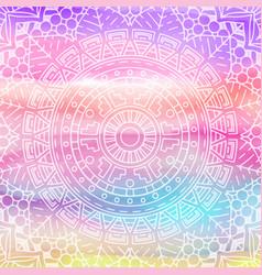 elegant mandala design on watercolour texture vector image