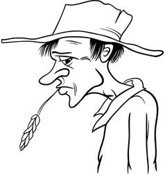 Farmer cartoon coloring page vector