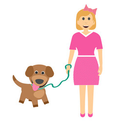 female child with a puppy girl with dog on leash vector image