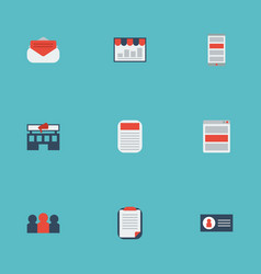 Flat icons social media ads auditorium id and vector