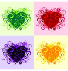 floral hearts vector image