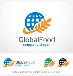Global food logo template design vector