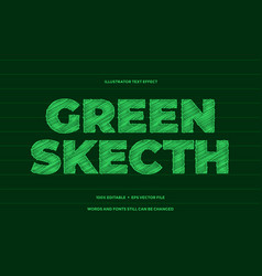 Green sketch pencil text effect style design vector