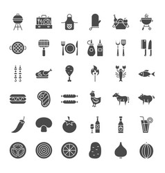 Grill solid web icons vector