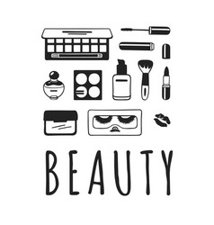 Hand drawn beauty products creative vector