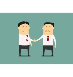 Handshake two asian businessmen vector