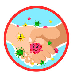 Handshake with virus microbe infection banner on vector