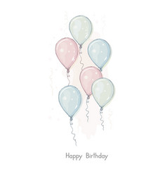 happy birthday hand drawn card cute balloons vector image