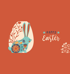 happy easter cute floral rabbit egg doodle banner vector image