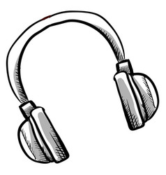 headphones drawing on white background vector image