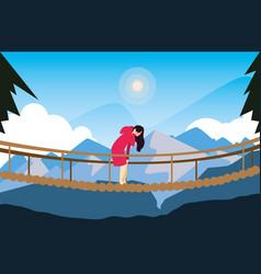 Hiking woman crossing bridge mountains landscape vector