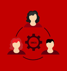 humans in circle with gear inside icon isolated vector image