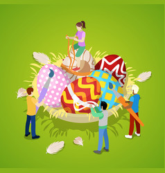 isometric people painting traditional easter eggs vector image